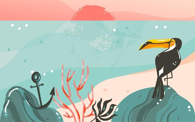 Fondo de banner de plantilla de arte de ilustraciones gráficas de horario de verano de dibujos animados abstractos dibujados a mano con paisaje de playa oceánica, vista del atardecer rosa, tucán de belleza y con espacio de copia para tu