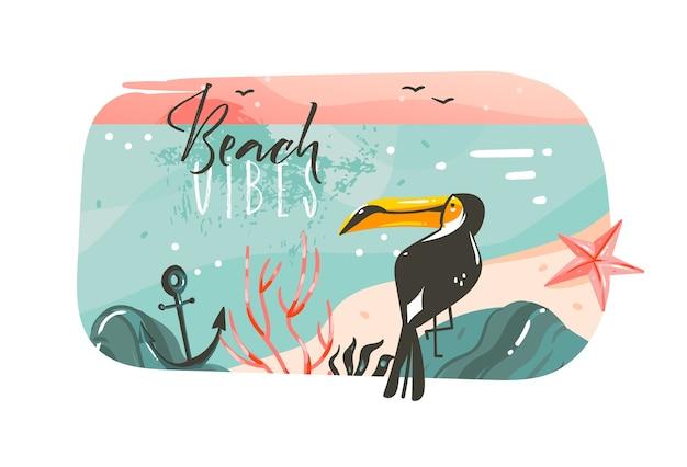 Fondo de banner de plantilla de arte de ilustraciones gráficas de horario de verano de dibujos animados abstractos dibujados a mano con paisaje de playa de océano, vista de puesta de sol rosa, tucán de belleza con cita de tipografía de beach vibes