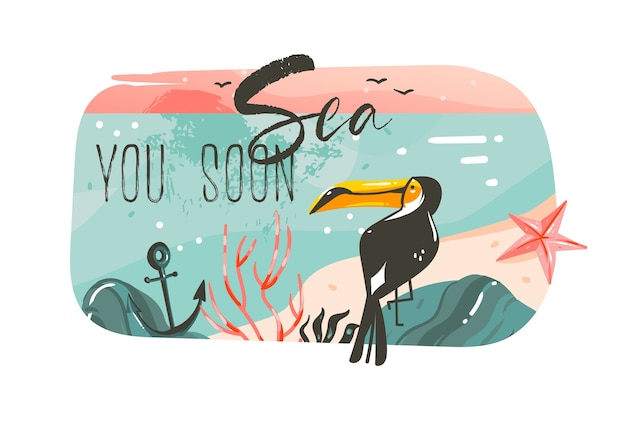Fondo de banner de plantilla de arte de ilustraciones gráficas de horario de verano de dibujos animados abstractos dibujados a mano con paisaje de playa de océano, vista de puesta de sol rosa, tucán de belleza con mar, cita de tipografía pronto.