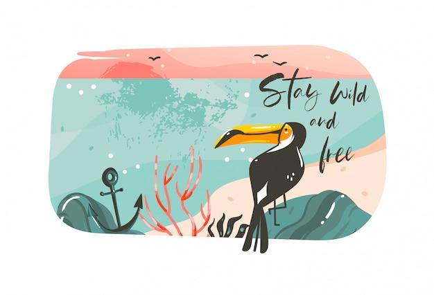 Fondo de banner de plantilla de arte de ilustraciones de horario de verano de coon dibujado a mano con paisaje de playa oceánica, vista de puesta de sol rosa, tucán de belleza con cita de tipografía stay wild y gratis