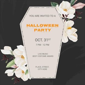 Fondo de banner de plantilla cuadrada de tarjeta de invitación de ataúd de fiesta de halloween