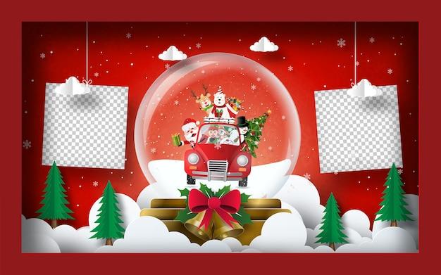 Fondo de banner de postal de navidad de foto en blanco