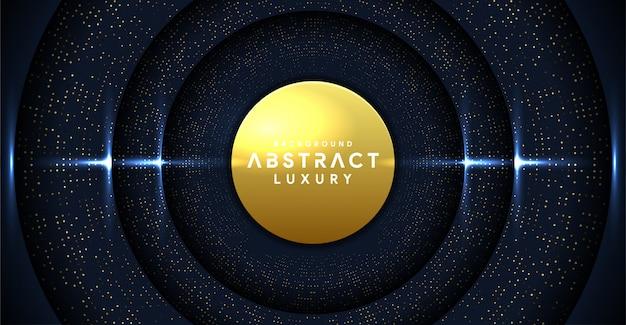 Fondo de banner premium oscuro abstracto de lujo con línea de oro