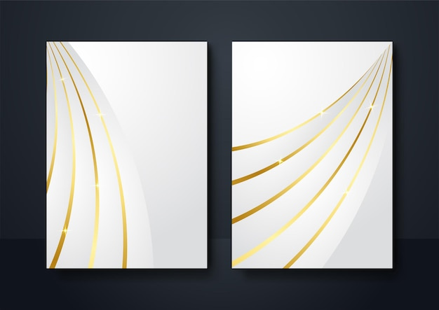 Fondo de banner de redes sociales color oro blanco. decoración abstracta, líneas doradas, gradientes de semitonos, ilustración vectorial 3d. plantilla de cubierta de onda, formas geométricas, banner minimalista moderno