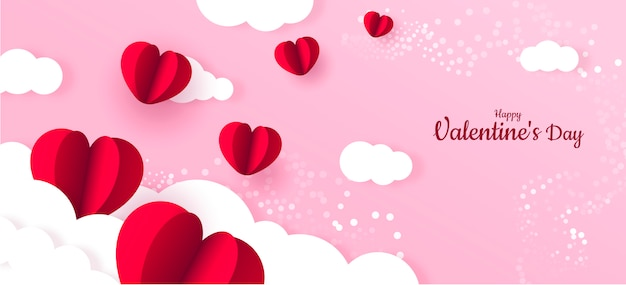 Fondo de banner de san valentín de papel de corazón rojo