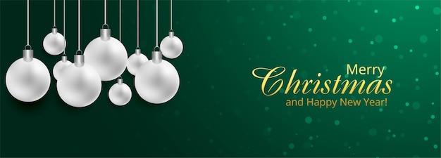 Fondo de banner de tarjeta de vacaciones de bola de navidad