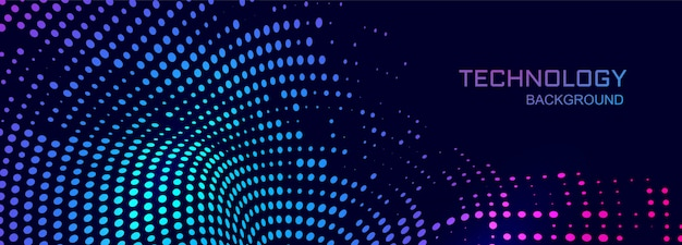 Fondo de banner de tecnología con diseño punteado de conexión