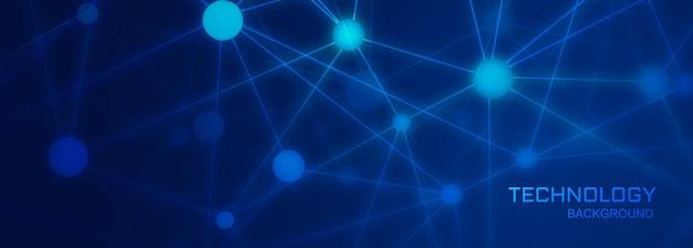 Fondo de banner de tecnología con formas de conexión de polígono