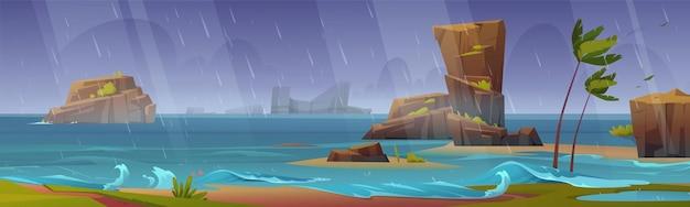 Fondo de banner con tormenta tropical en la playa del océano con palmeras dobladas y rocas alrededor.