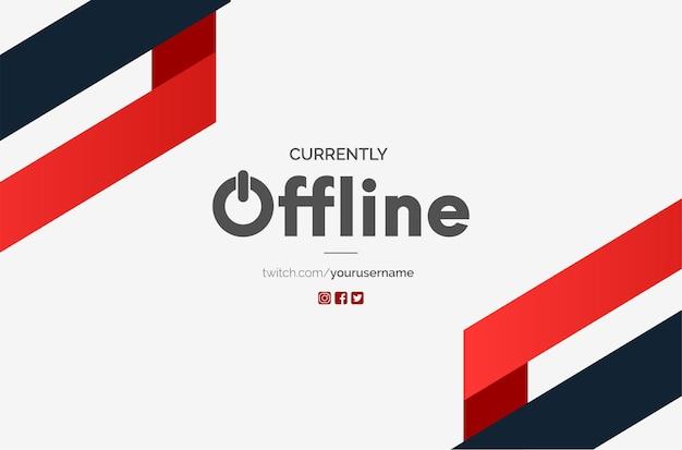 Fondo de banner de twitch moderno actualmente sin conexión con formas rojas