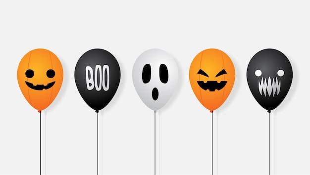 Fondo de banner de vector de globo de halloween