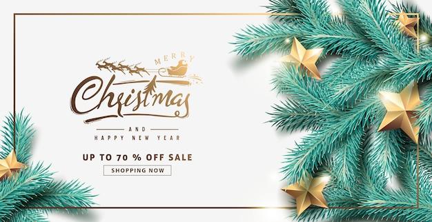Fondo de banner de venta de feliz navidad con ramas de árbol realistas y estrellas doradas.
