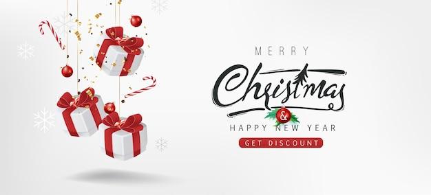 Fondo de banner de venta de feliz navidad texto de feliz navidad letras caligráficas.