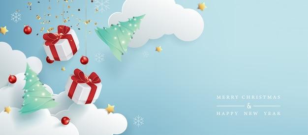 Fondo de banner de venta de feliz navidad.