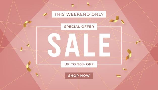 Fondo de banner de venta de moda con texto de oferta de promoción de cinta dorada.