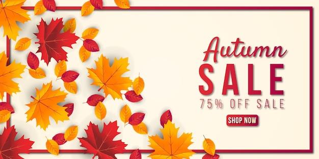 Fondo de banner de venta otoño con hoja. oferta especial hasta 75% premium vector