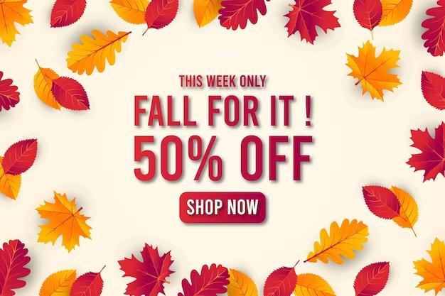 Fondo de banner de venta otoño otoño con hoja. oferta especial hasta 50% premium vector