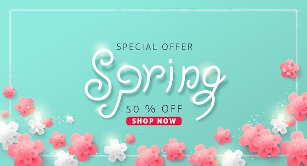 Fondo de banner de venta de primavera con flor.