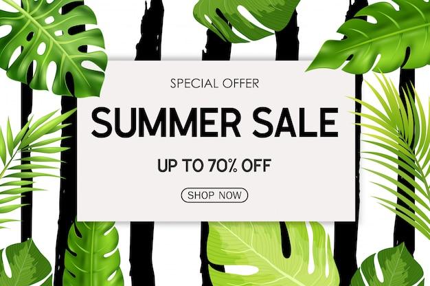 Fondo de banner de venta de verano con flores tropicales