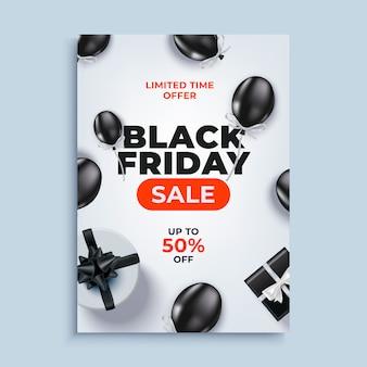 Fondo de banner de venta de viernes negro con cartel de globos