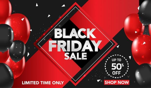 Fondo de banner de venta de viernes negro con globos rojos y negros y confeti