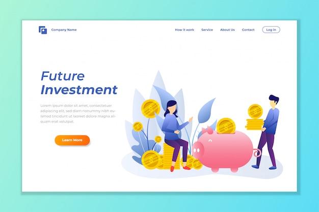 Fondo de banner web de inversión de dinero