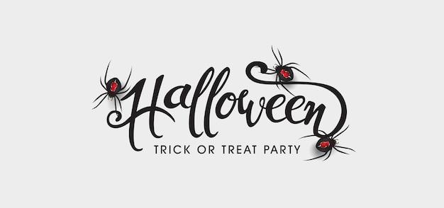 Fondo de banners de texto de halloween feliz. arañas realistas.