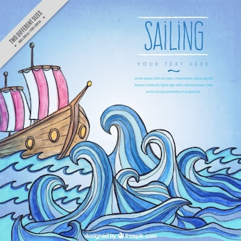 Fondo de barco dibujado a mano en el oceano