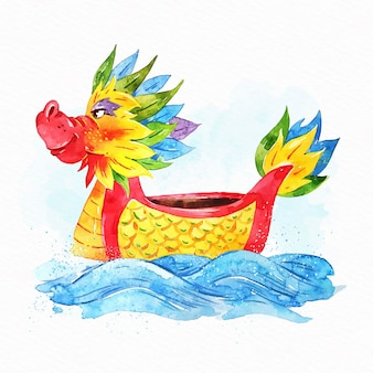 Fondo de barco de dragón acuarela
