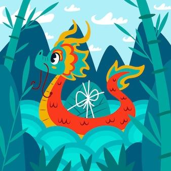 Fondo barco dragón dibujado a mano