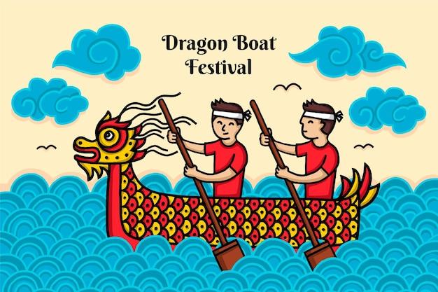 Fondo de barco de dragón de diseño dibujado a mano