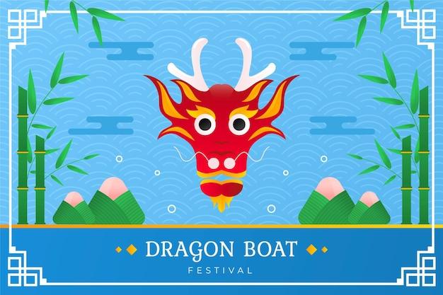 Fondo de barco de dragón de diseño plano