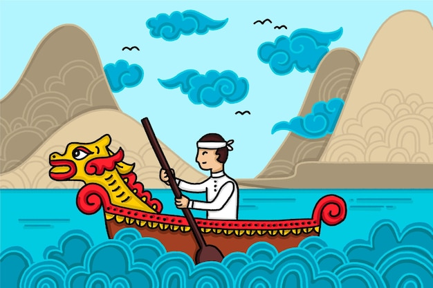 Fondo de barco de dragón de estilo dibujado a mano
