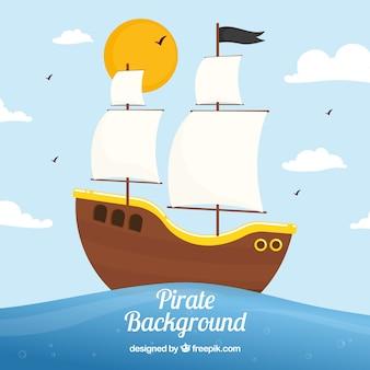 Fondo de barco pirata navegando