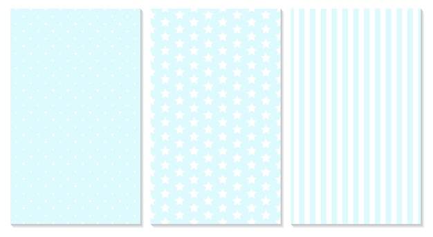 Fondo de bebé. patrón azul. lunares, rayas, patrón de estrellas.