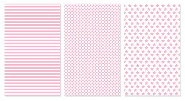 Fondo de bebé patrón rosa ilustración. lunares, rayas, patrón de estrellas.