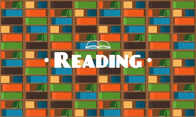 Fondo de biblioteca de estilo plano con libros
