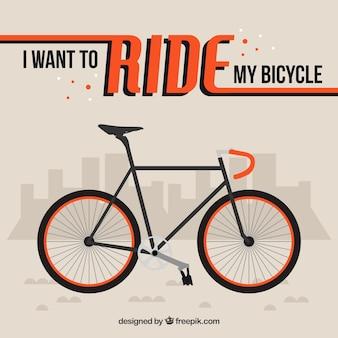 Fondo de bici plana con una frase