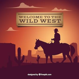 Fondo de bienvenido al salvaje oeste con vaquero