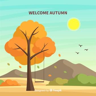 Fondo de bienvenido otoño