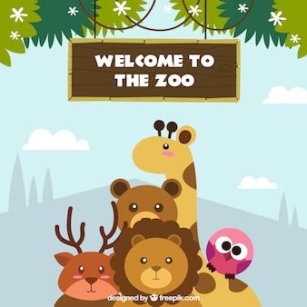 Fondo de bienvenidos al zoo
