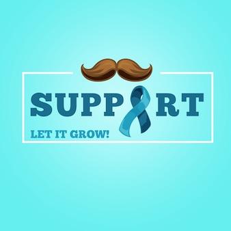 Fondo de bigote de movember en diseño plano