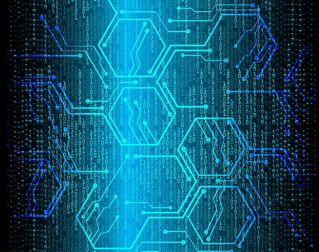 Fondo binario azul de la tecnología futura del circuito cibernético