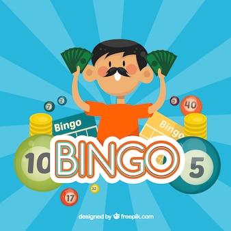 Fondo de bingo de hombre con billetes