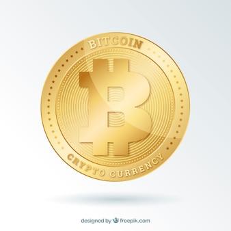 Fondo de bitcoin con moneda brillosa dorada