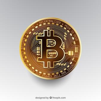 Fondo de bitcoin con moneda dorada