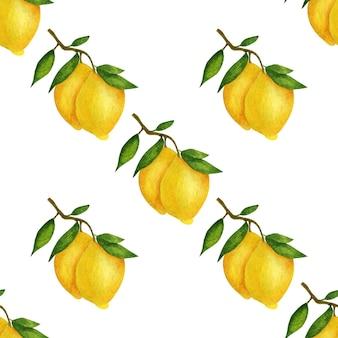 Fondo blanco acuarela limones. patrón sin costuras.