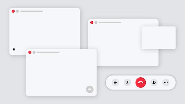 Fondo blanco de la aplicación de videoconferencia con espacio de diseño