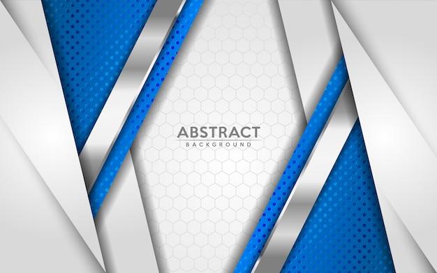 Fondo blanco y azul abstracto moderno con efecto de textura de capas de superposición 3d.
