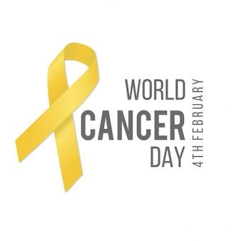 Fondo blanco con una cinta amarilla, día mundial del cáncer